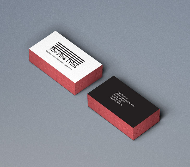 The fine print business cards