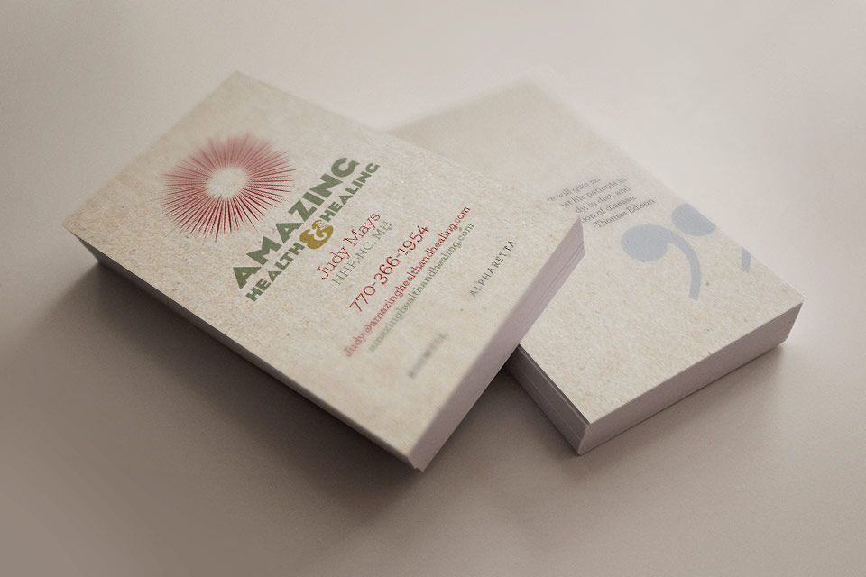 amazing health and healing business cards