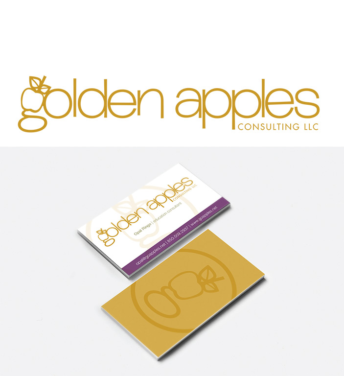 golden apples logo and business cards
