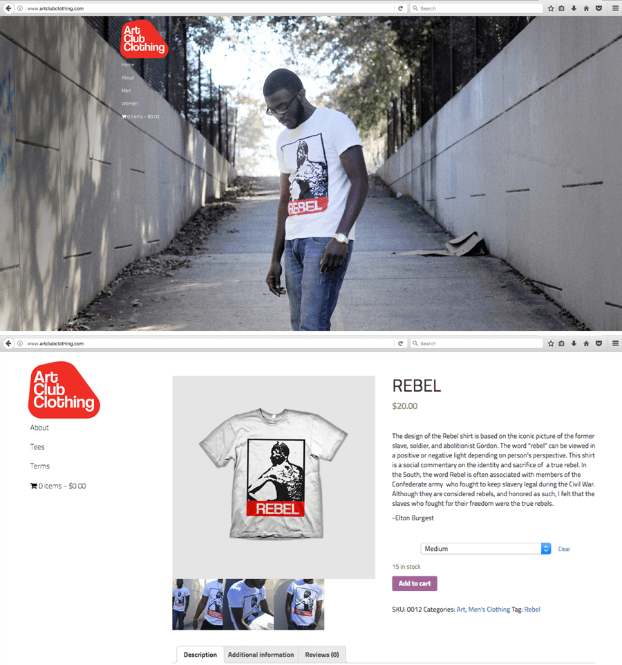 Art Club Clothing website screenshot